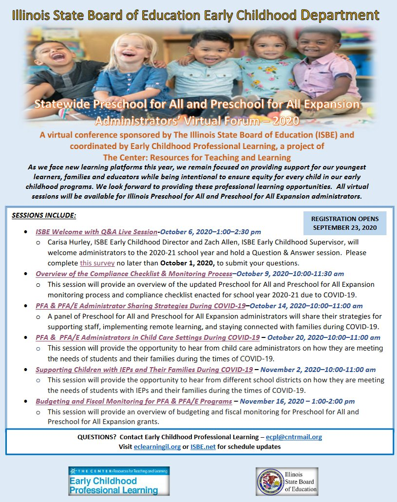 Statewide Preschool for All and Preschool for All Expansion Administrator's Virtual Forum 2020